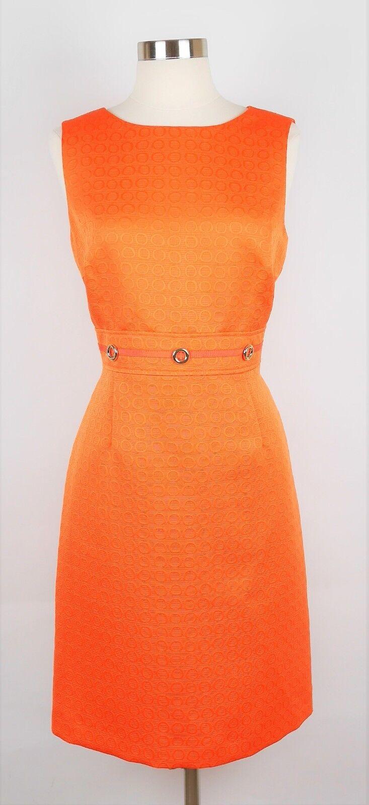 TAHARI ASL Größe 8 - Orange TEXTUrot SLEEVELESS SHEATH DRESS Gold Accent Knee Lth