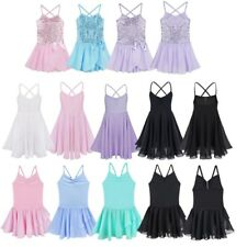 Girls Kids Tutu Ballet Leotard Dance Dress Chiffon Dancewear Unitards Costume