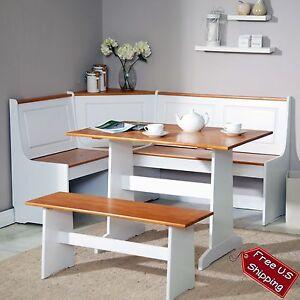 Corner Nook Dining Set Bench Breakfast Kitchen Booth Dinette Table White Stor