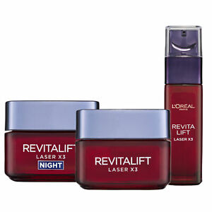 L'Oreal Paris Revitalift Laser X3 Day Cream + Night + Serum Re-Surfacing Set