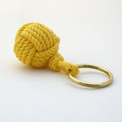 Mystic Knotwork: Yellow Nautical Monkey Fist Key Chain