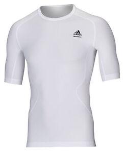 adidas-Techfit-weiss-Laufshirt-Funktionsshirt-Training-und-Fitness-Gr-XS