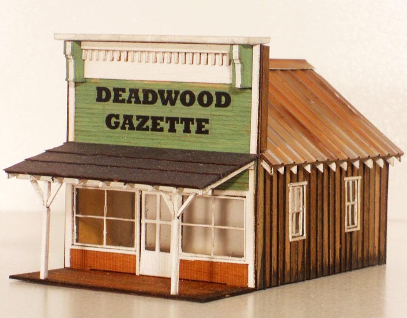 DEADWOOD GAZETTE HO HOn3 Model Railroad Structure Unptd Wood Laser Kit RSL2036