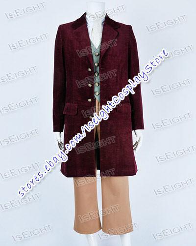The Hobbit Cosplay Bilbo Baggins Costume Dark Red Suit Uniform Outfit Halloween