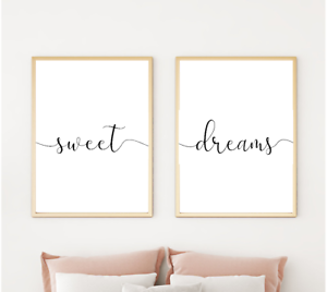 Home gifts A4 A3 Sweet dreams Bedroom Prints Family Home Quotes