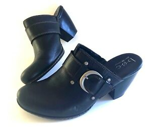 Born-B-O-C-Concept-black-leather-clogs-heels-strap-buckle-women-039-s-9-40-5-chic