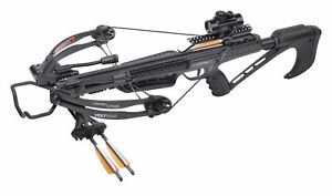 "CenterPoint VOLT Compound Crossbow with 3x20"" Carbon Arrows, 3-dot Sight AXCV..."