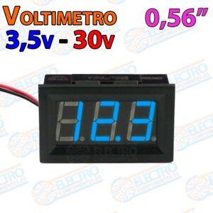 Belle Voltimetro Led Panel 3,5v 30v Dc 2 Hilos 0,56 Pulgadas - Azul - Arduino Electron