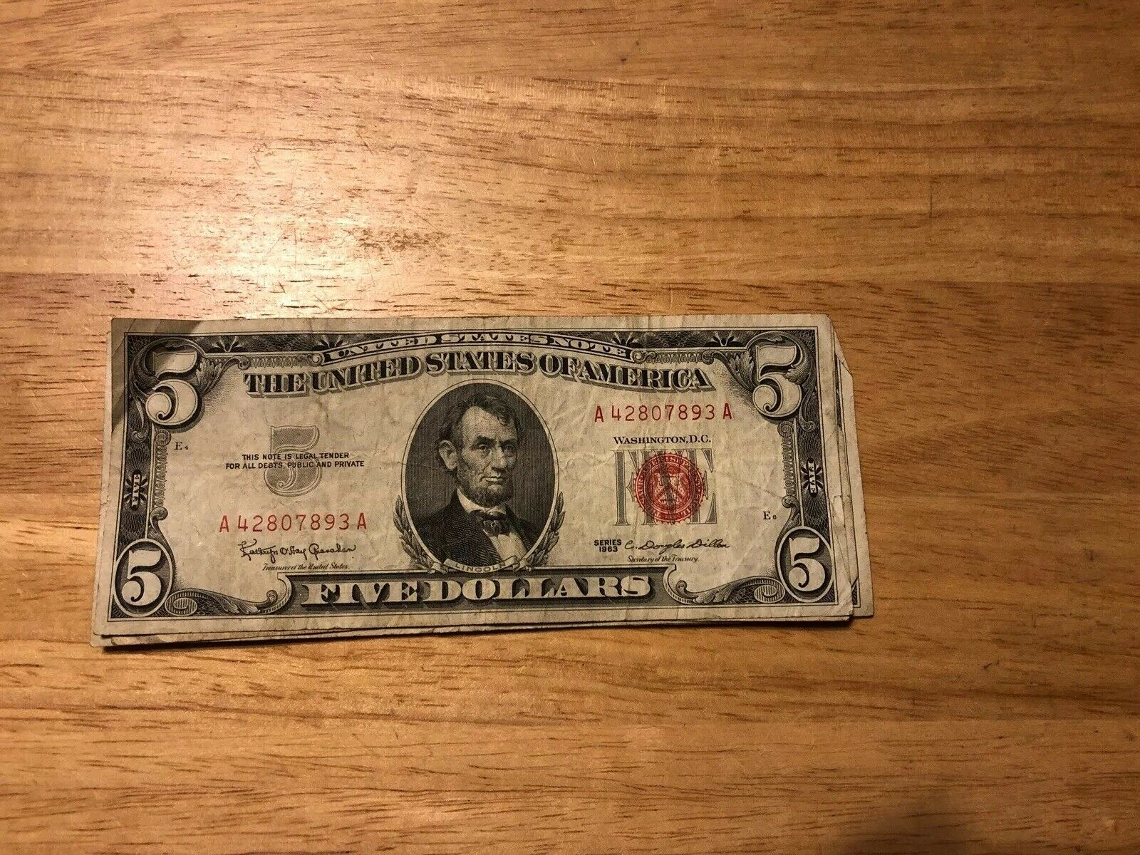 1963 $5 Dollar Red Seal Legal Tender Note US Money Old Bill Circulated 1