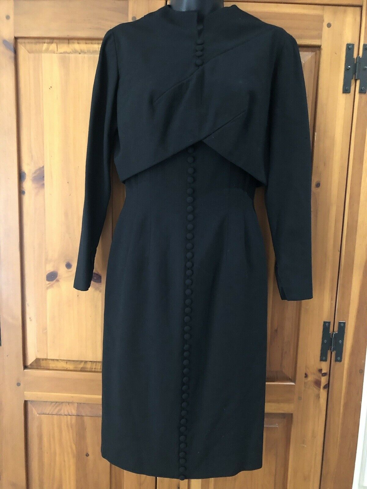 Travilla vintage 60s/70s black wool crepe dress s… - image 2