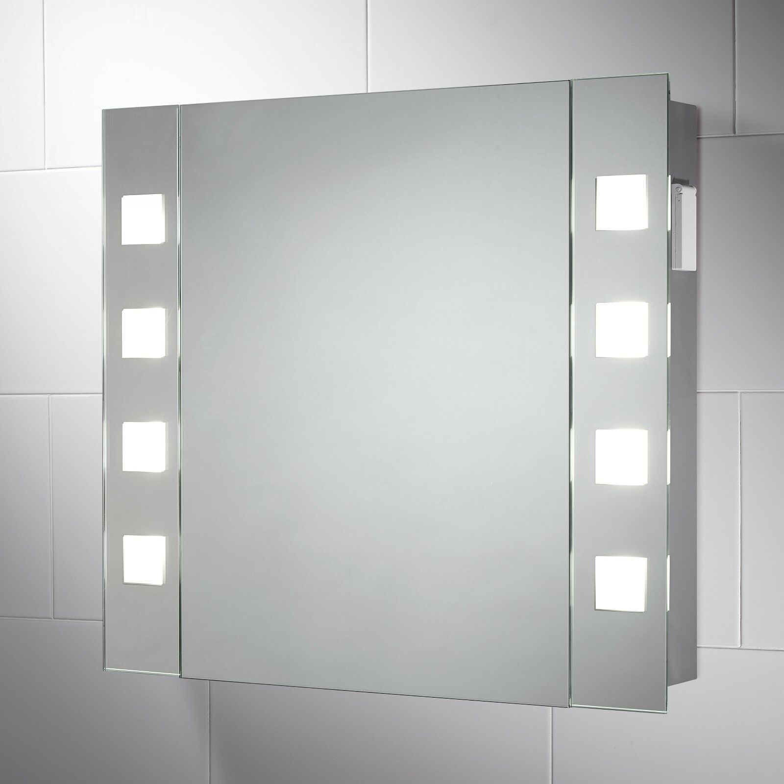 Illuminated Bathroom Cabinet Mirror With Shaver Socket Demister Pad 650 X 600 Ebay