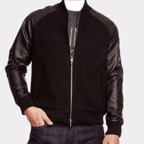 Letterman College Bomber Jacket Black Real Leather Sleeves Black Wool Zipper