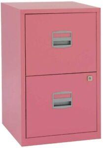 Bisley Personal Filer Steel Filing Cabinet 2 Drawer A4 - Pink