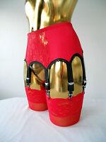 Sml/med Red Lycra/lace 8 Strap Designer Retro Style Suspender Belt 30-32 Waist