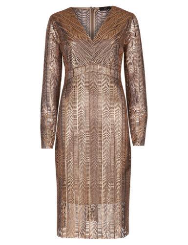 hals Per Una met Sz UK brons Speziale Nieuwe Ms V 14 jurk shift gouden fbgY6vy7