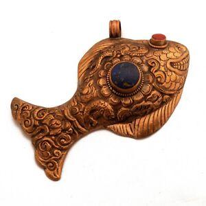Two-Fish-Pendant-Nepal-Tibetan-Buddhist-Good-Luck-Handmade-Antique-Copper-PD959