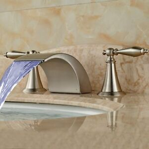Led Waterfall Bathroom Faucet Widespread Sink Tub Mixer