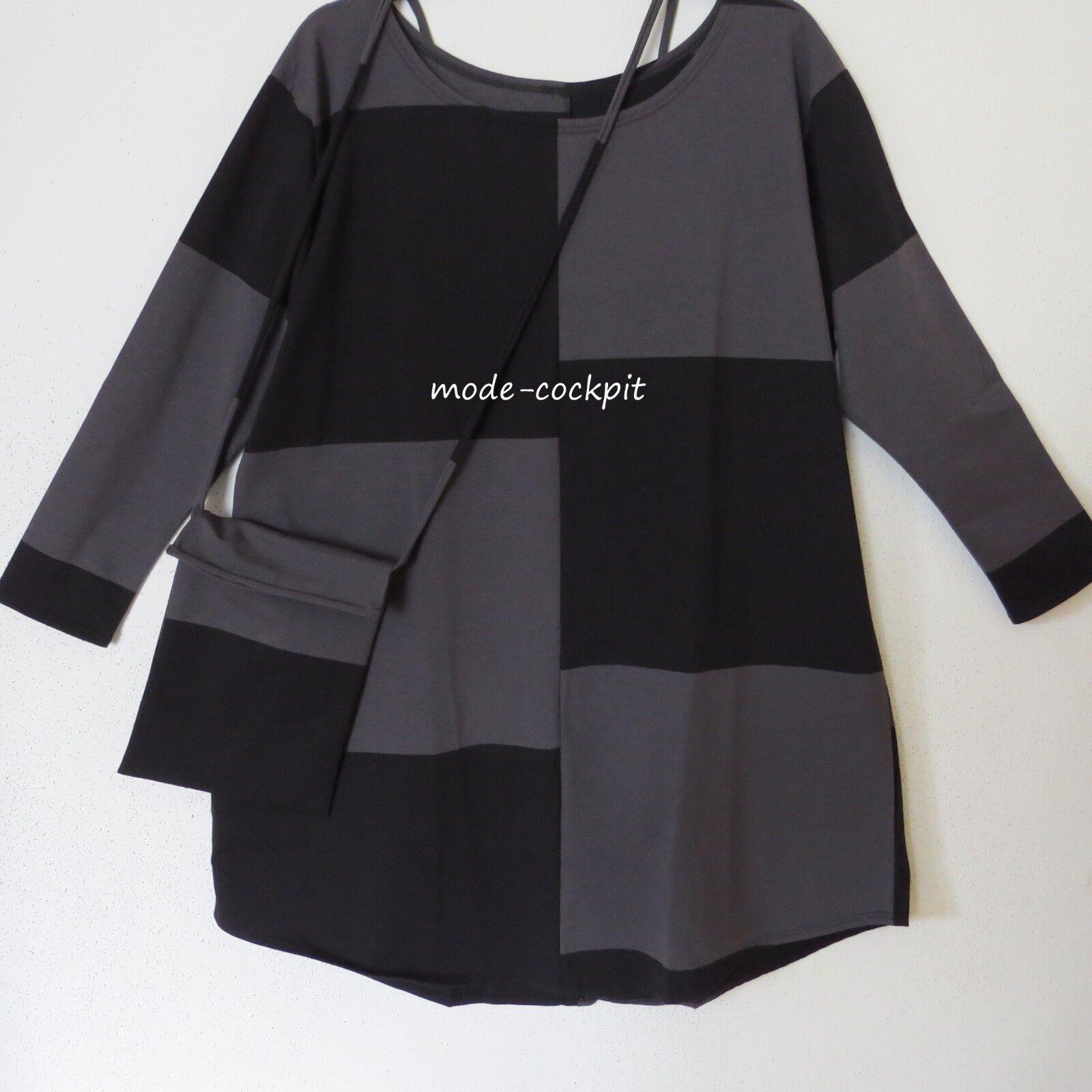 BORIS INDUSTRIES Traum Tunika Long Shirt+Tasche Patch schwarz-grau 44-48 (2)