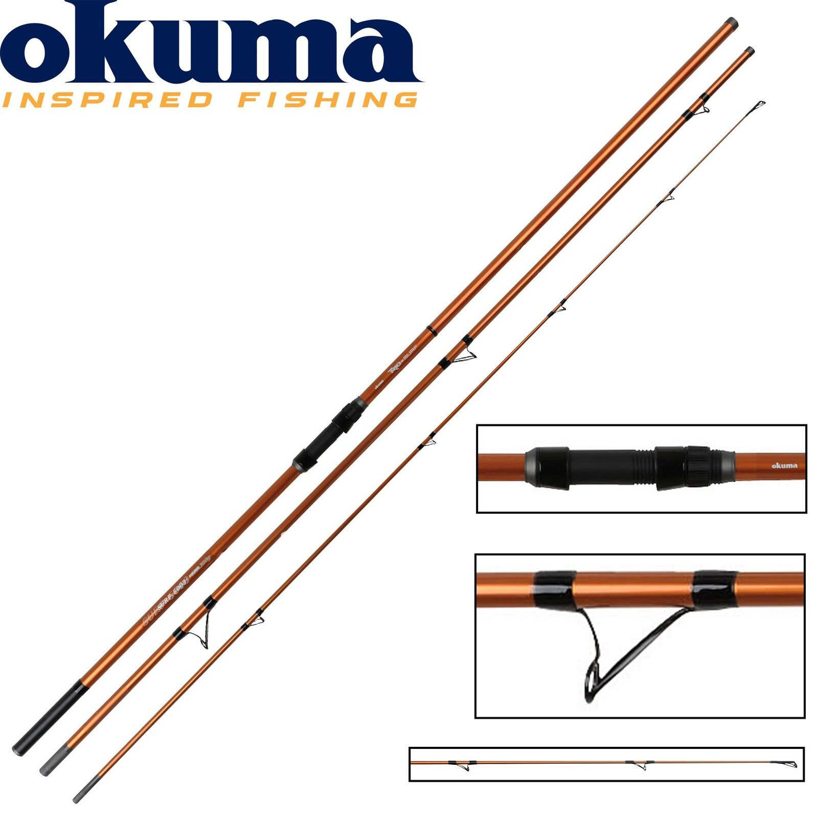 Okuma Trio Rex Surf 450cm 100-200g Brandungsrute, Angelrute zum Meeresangeln
