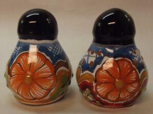 Talavera Pottery Salt and Pepper Shaker Set Mexican Folk Art