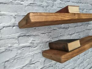 Shelf -Floating Rustic Shelves Industrial Solid Wood+2 Brackets.