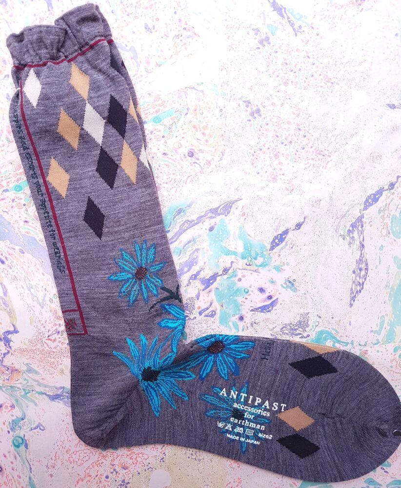 Antipast Japon Femme Laine Mélange Chaussettes Botanique Gris Sur Mollet Uk 4-7 Eu 37-40