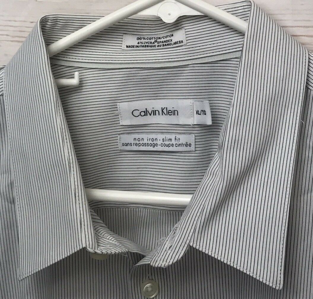 Mens Calvin Klein White Slim Fit Striped Long Sleeve Shirt Size M Ebay