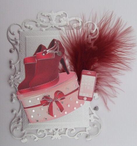 Scrapbooking red//maroon Elegant Fashion Card Topper  Card