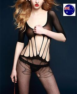 Foreplay-NET-fishnet-Sexy-Open-crotch-Night-Lingerie-Bodysuit-Body-Stockings