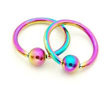 "Pair 10G 1/2"" Diameter Rainbow titanium anodized captive rings nipple"
