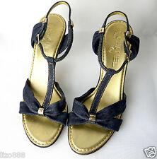 Chanel con Tacco Cinturino alla Caviglia Denim Scuro Sandali Sz UE 39.5/UK 6.5