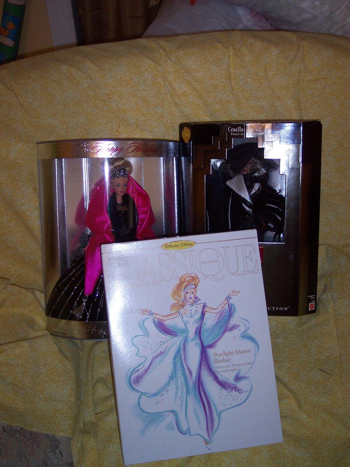 Lote De Barbies  Barbie Cruela De Vil, Starlight Dancer y Felices Fiestas 1998