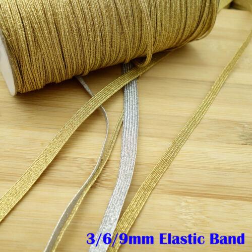 3//6//9mm Glitter Lucido piatto fascia elastica Skinny Stretch Cord Roll FAI DA TE CUCIRE Soft