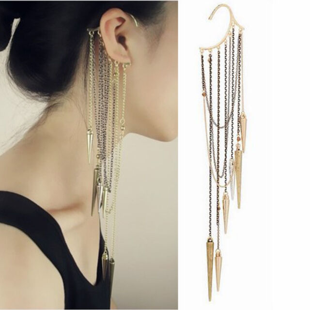 Fashion Women Long Rivet Tassel Statement Ear Wrap Chain Earrings Steampunk DE