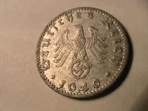 1940-D-Germany-50-Pfennig-aEF-Scarce-Lustrous-Original-Fifty-Reichspfennig-Coin