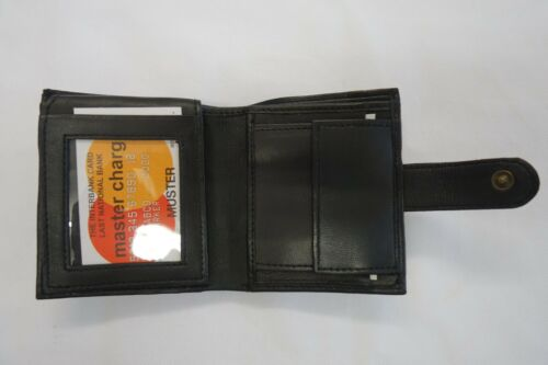 Uomo Portafoglio Pelle Morbida Slim con ID SPAZIO TRE nota pulsante spazio più vicino RFID