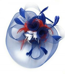 Blue Red White Union Jack Fascinator Hat Headband Alice Band Royal ... 7e4563fd82f