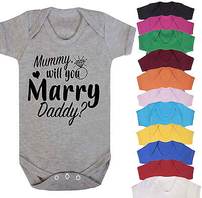 DADDY WILL YOU MARRY MUMMY PROPOSAL CUTE VALENTINES DAY BABY BODY VEST BABY GRO