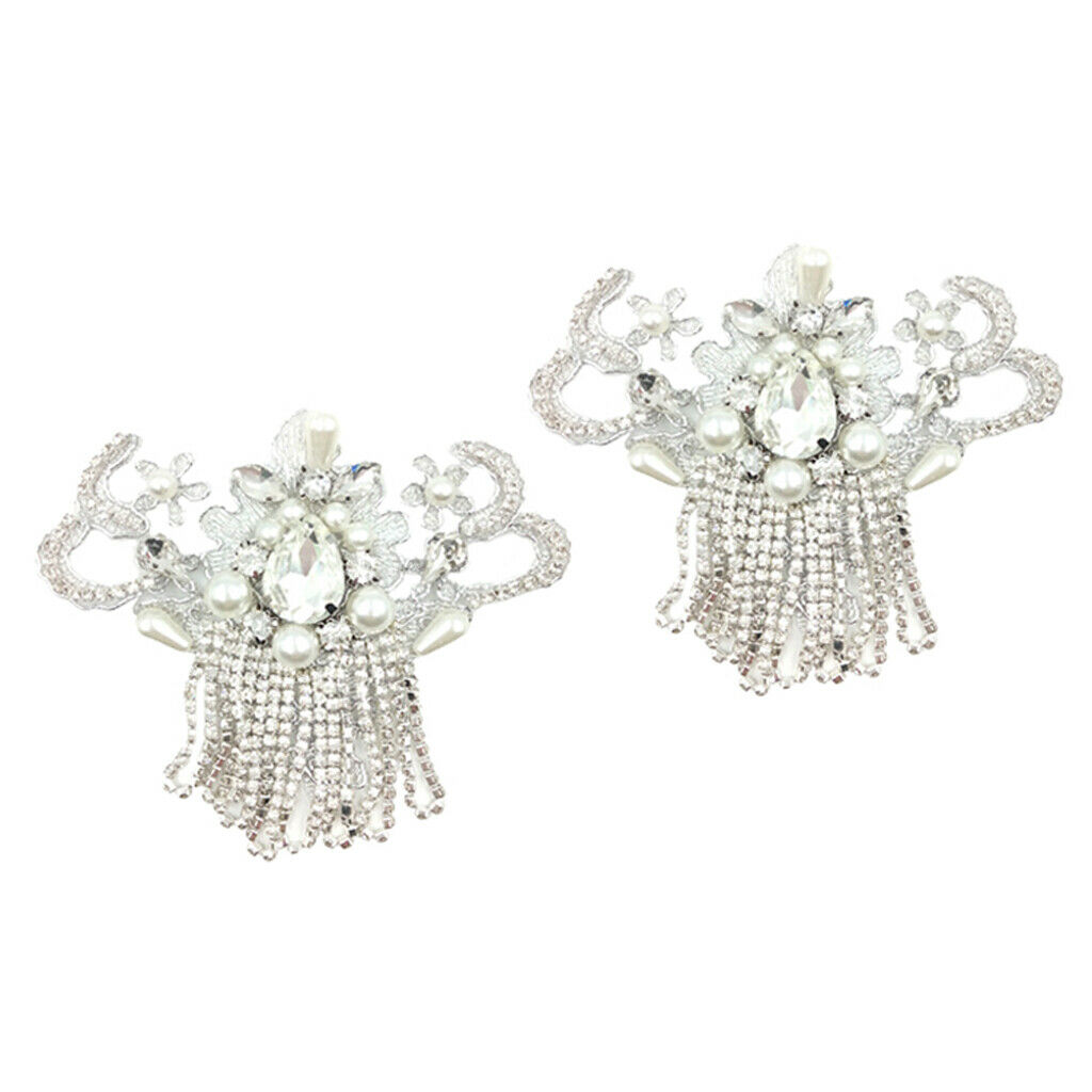 Women's Crystal Flower Beaded Shoe Clips Buckles Shoe Decoration Charms 1 Pair