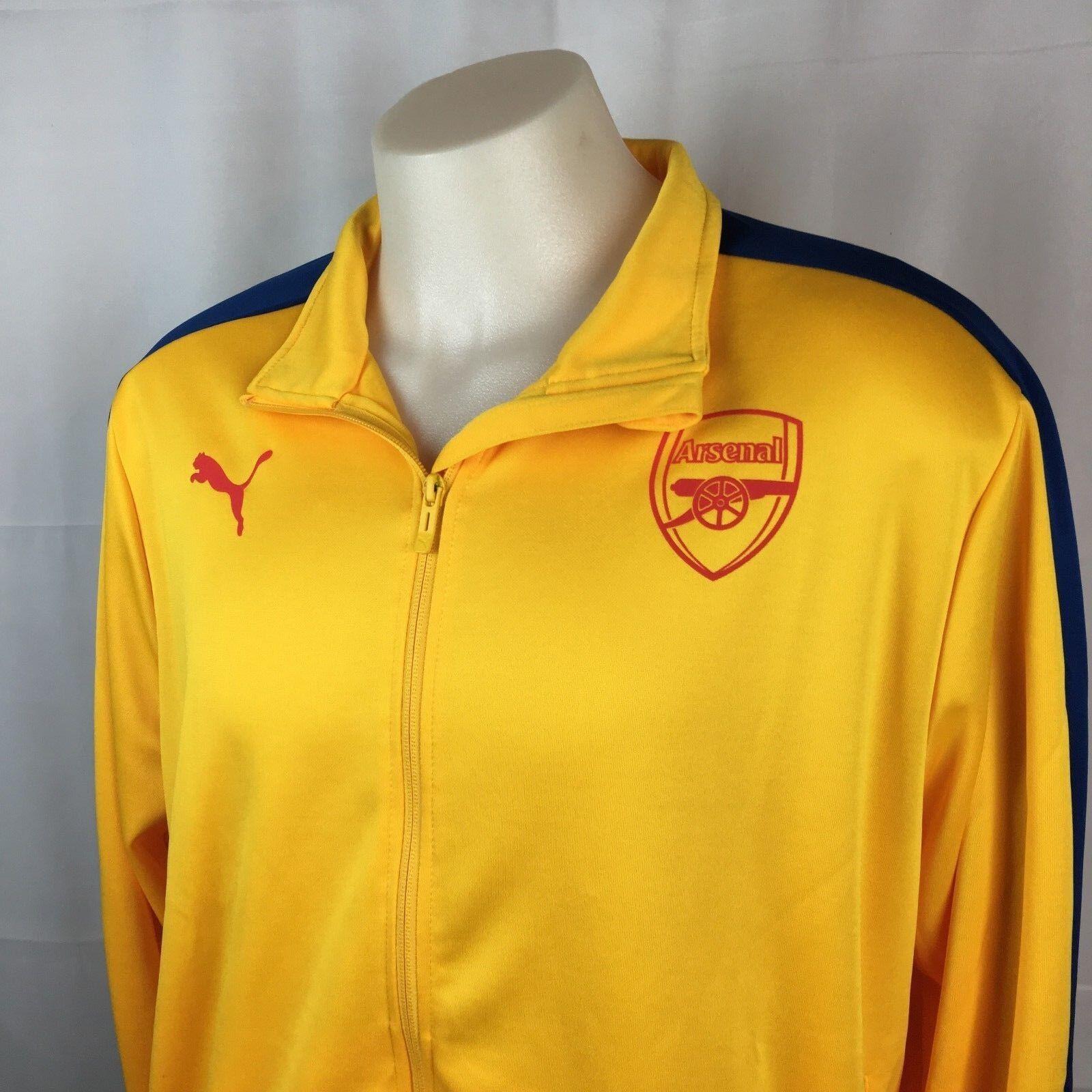 Arsenal Puma Soccer T7 Track Jacket Premiere League Yellow XXL NWT