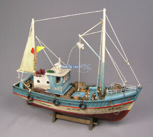 Fischkutter-Kutter-Schiffsmodell-Modellschiff-Rettungsring-Maritim-Deko-Krabben