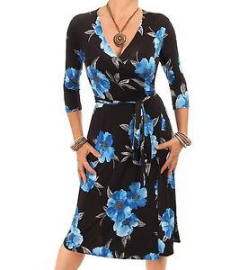 size 40 3850c 571af Details zu Neu Blau Blumen Wickelkleid - Knielang