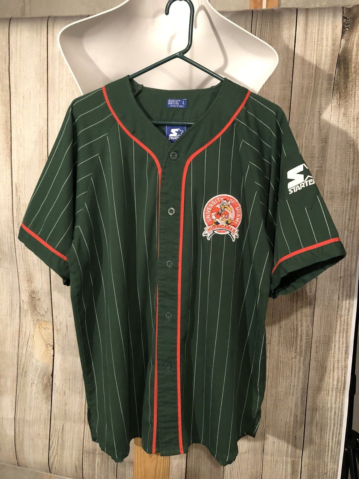 Vintage Starter University of Miami Hurricanes Button Up Large Jersey