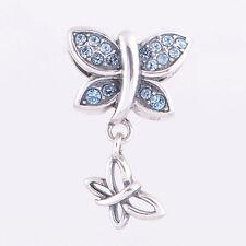 FLY w ME BUTTERFLY DANGLE Blue Crystal 925 Sterling Silver European Charm Bead