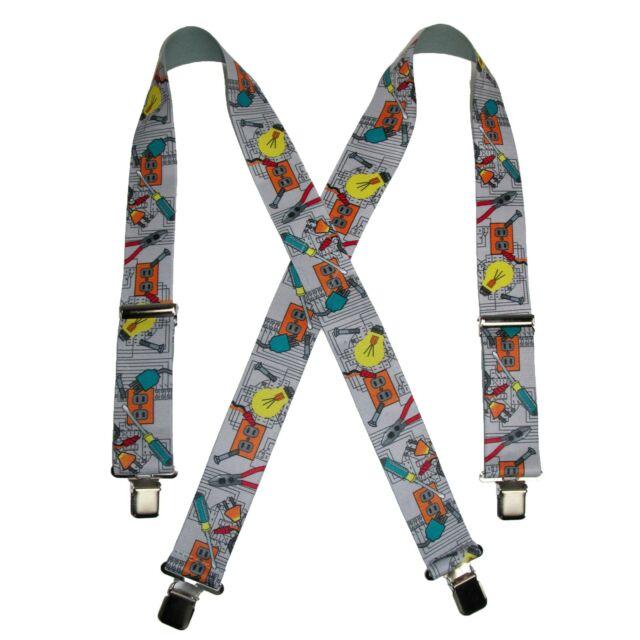 New CTM Elastic Solid Black Clip-End Suspenders