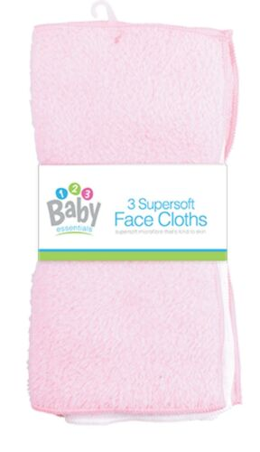 3 Pack Pink /& White SUPER SOFT BABY FACE CLOTHS Bath Flannel Wash Towel Wipe