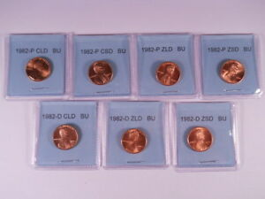 1982-P-D-7coins-Small-Large-Date-Copper-Zinc-Lincoln-Cent-Collection-Choice-BU
