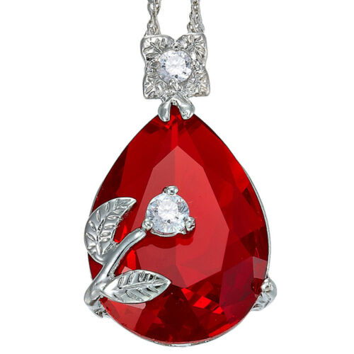 Melina Bijoux Melina PEAR CUT Red Ruby fine Clear Topaz Collier Pendentif NR