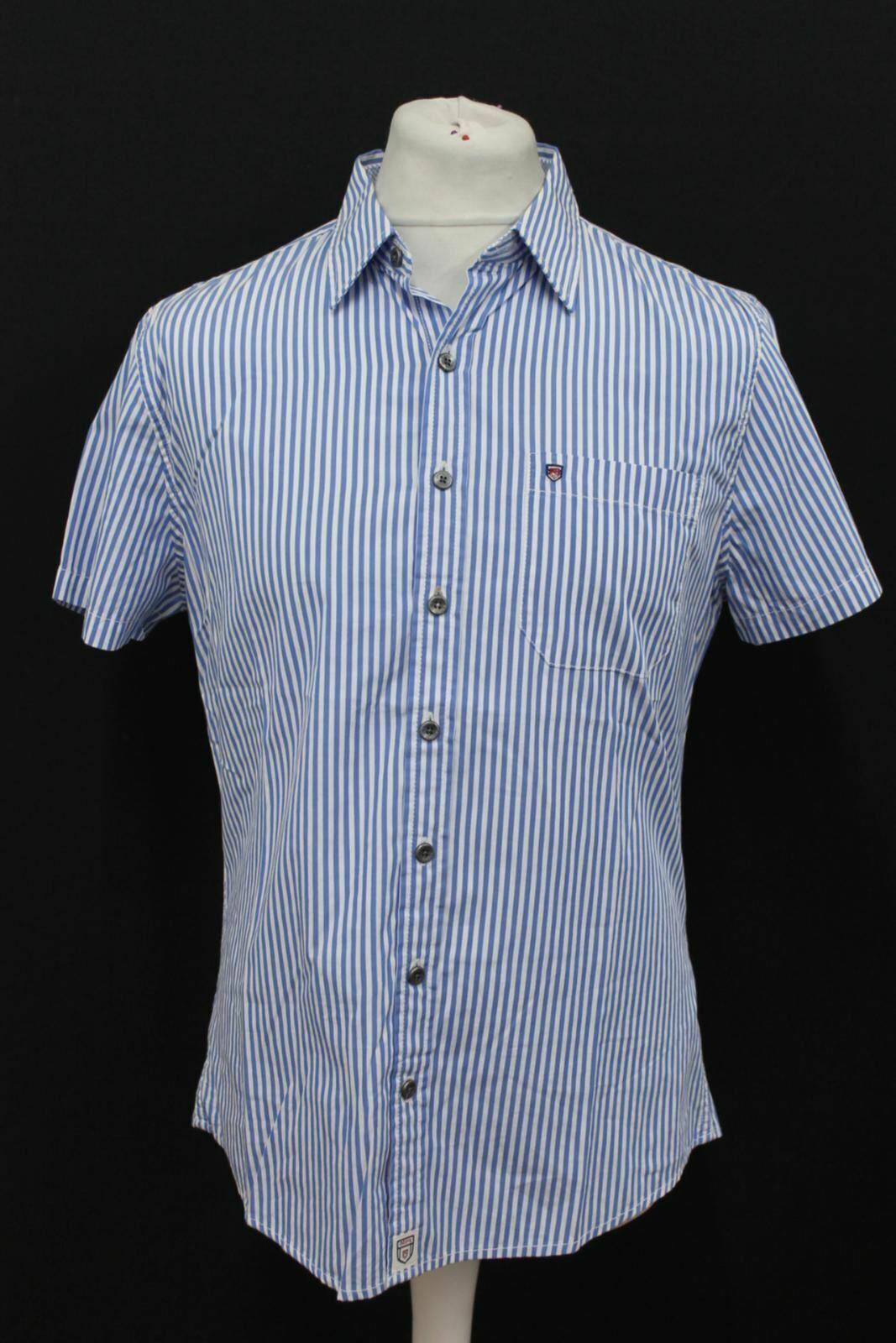 BNWT Dubarry Uomo nerorock Blu Bianco Manica Corta Camicia A Righe Taglia S
