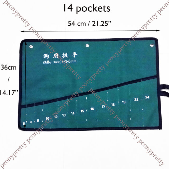 Strong 8/10/14 pockets canvas spanner wrench tool roll up storage bags organizer